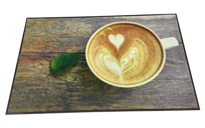 Design your coffee area with a promotional mat