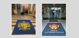 Branded entrance mats in schools can make a statement for visitors