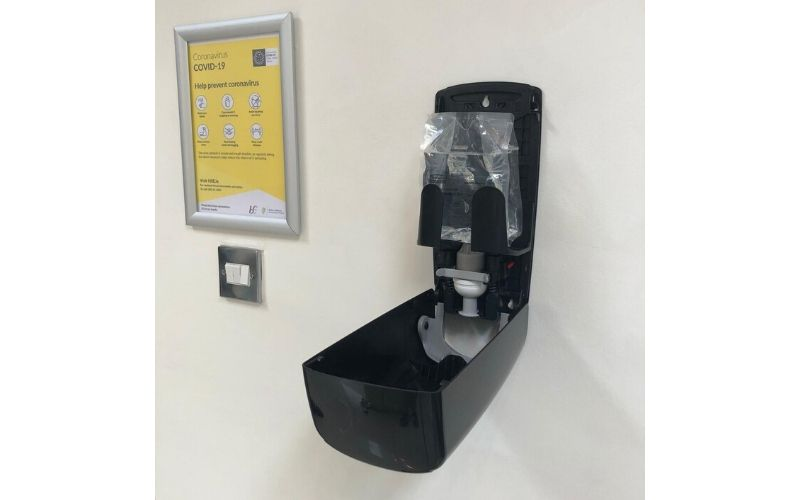 Sanitise hands with the Covid-19 Hygiene Station